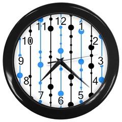Blue, white and black pattern Wall Clocks (Black)