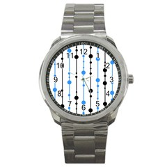 Blue, white and black pattern Sport Metal Watch