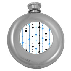 Blue, White And Black Pattern Round Hip Flask (5 Oz) by Valentinaart