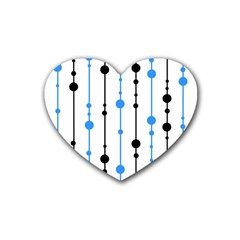 Blue, White And Black Pattern Heart Coaster (4 Pack)  by Valentinaart