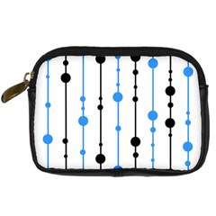 Blue, White And Black Pattern Digital Camera Cases by Valentinaart