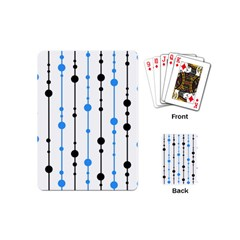 Blue, White And Black Pattern Playing Cards (mini)  by Valentinaart