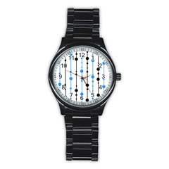 Blue, White And Black Pattern Stainless Steel Round Watch by Valentinaart