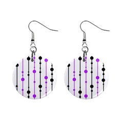 Purple, White And Black Pattern Mini Button Earrings by Valentinaart