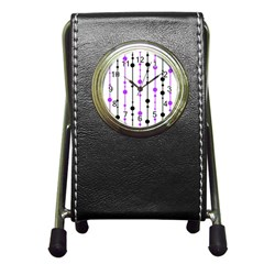 Purple, White And Black Pattern Pen Holder Desk Clocks by Valentinaart