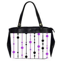 Purple, White And Black Pattern Office Handbags (2 Sides)  by Valentinaart
