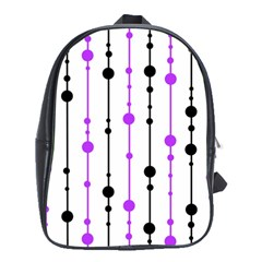 Purple, White And Black Pattern School Bags (xl)  by Valentinaart