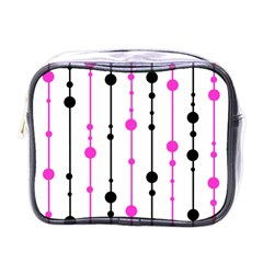 Magenta, Black And White Pattern Mini Toiletries Bags by Valentinaart