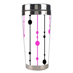 Magenta, Black And White Pattern Stainless Steel Travel Tumblers by Valentinaart