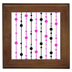 Magenta, Black And White Pattern Framed Tiles by Valentinaart