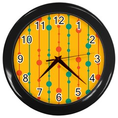 Yellow, Green And Red Pattern Wall Clocks (black) by Valentinaart