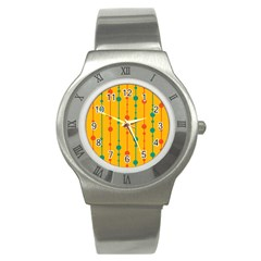 Yellow, Green And Red Pattern Stainless Steel Watch by Valentinaart