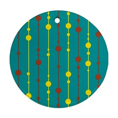 Green, Yellow And Red Pattern Ornament (round)  by Valentinaart