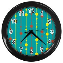 Green, Yellow And Red Pattern Wall Clocks (black) by Valentinaart