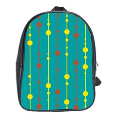 Green, Yellow And Red Pattern School Bags(large)  by Valentinaart