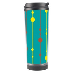 Green, Yellow And Red Pattern Travel Tumbler by Valentinaart