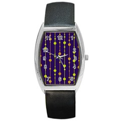 Deep Blue, Orange And Yellow Pattern Barrel Style Metal Watch by Valentinaart