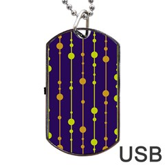 Deep Blue, Orange And Yellow Pattern Dog Tag Usb Flash (one Side) by Valentinaart