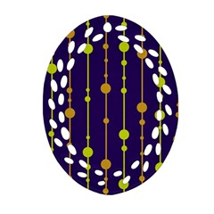 Deep Blue, Orange And Yellow Pattern Ornament (oval Filigree)  by Valentinaart