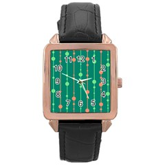 Green Pattern Rose Gold Leather Watch  by Valentinaart
