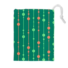 Green Pattern Drawstring Pouches (extra Large) by Valentinaart