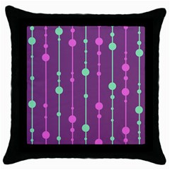 Purple And Green Pattern Throw Pillow Case (black) by Valentinaart
