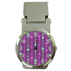 Purple And Green Pattern Money Clip Watches by Valentinaart