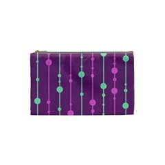 Purple And Green Pattern Cosmetic Bag (small)  by Valentinaart