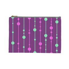 Purple And Green Pattern Cosmetic Bag (large)  by Valentinaart