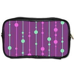 Purple And Green Pattern Toiletries Bags by Valentinaart