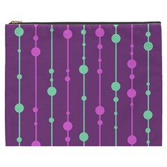 Purple And Green Pattern Cosmetic Bag (xxxl)  by Valentinaart