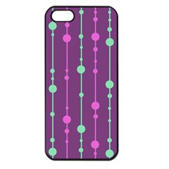 Purple And Green Pattern Apple Iphone 5 Seamless Case (black) by Valentinaart