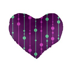 Purple And Green Pattern Standard 16  Premium Heart Shape Cushions by Valentinaart