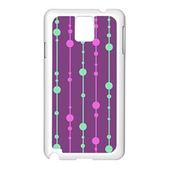 Purple And Green Pattern Samsung Galaxy Note 3 N9005 Case (white) by Valentinaart