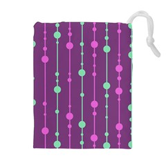 Purple And Green Pattern Drawstring Pouches (extra Large) by Valentinaart
