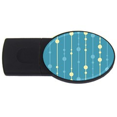 Blue Pattern Usb Flash Drive Oval (2 Gb)  by Valentinaart