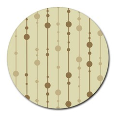 Brown Pattern Round Mousepads by Valentinaart