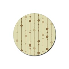Brown pattern Rubber Round Coaster (4 pack)  by Valentinaart