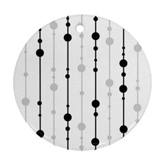 Black And White Elegant Pattern Ornament (round)  by Valentinaart