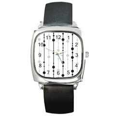 Black And White Elegant Pattern Square Metal Watch by Valentinaart