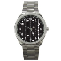 Black And White Pattern Sport Metal Watch by Valentinaart