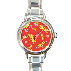 Red And Yellow Dragonflies Pattern Round Italian Charm Watch by Valentinaart