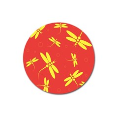 Red And Yellow Dragonflies Pattern Magnet 3  (round) by Valentinaart