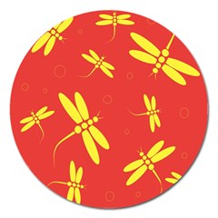 Red And Yellow Dragonflies Pattern Magnet 5  (round) by Valentinaart