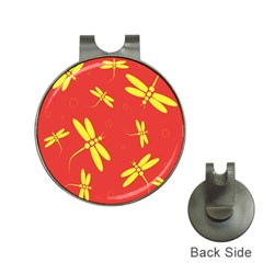 Red And Yellow Dragonflies Pattern Hat Clips With Golf Markers by Valentinaart