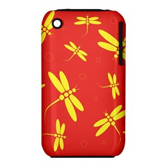 Red And Yellow Dragonflies Pattern Apple Iphone 3g/3gs Hardshell Case (pc+silicone) by Valentinaart