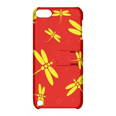 Red And Yellow Dragonflies Pattern Apple Ipod Touch 5 Hardshell Case With Stand by Valentinaart