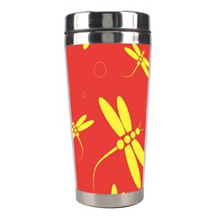 Red And Yellow Dragonflies Pattern Stainless Steel Travel Tumblers by Valentinaart