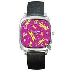 Purple And Yellow Dragonflies Pattern Square Metal Watch by Valentinaart
