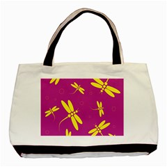 Purple And Yellow Dragonflies Pattern Basic Tote Bag by Valentinaart